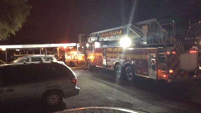 Firefighters at the scene of a fatal cooking fire in northwest Las Vegas. (Courtesy: Las Vegas Fire & Rescue)