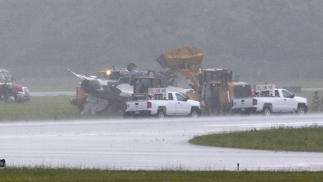 Scene of a Thunderbird crash at the Dayton Air Show. (Courtesy: WHIO)