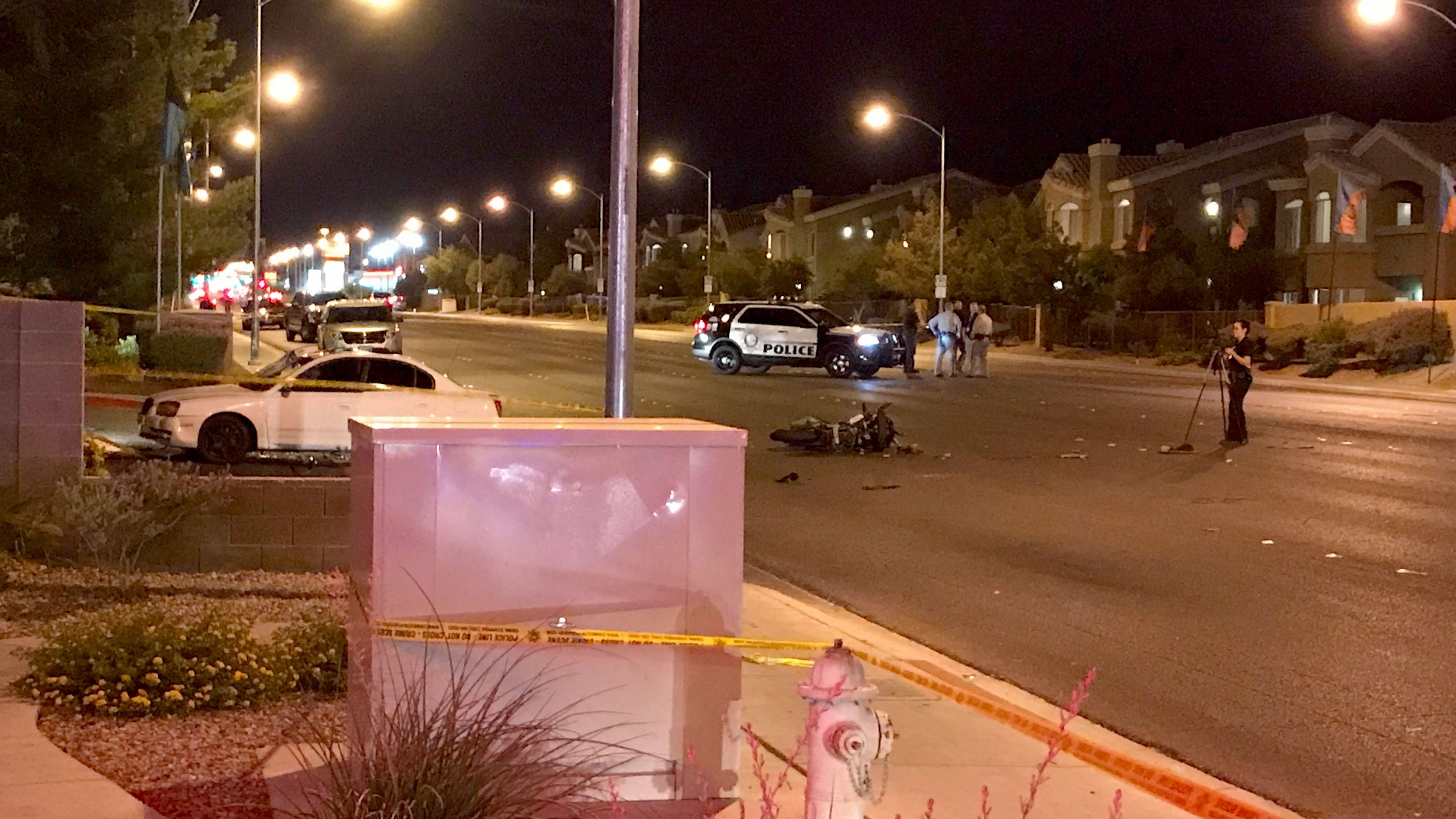 Las Vegas Metro police said they are investigating a fatal crash on June 23, 2017 at Flamingo Road and El Capitan Way. (Gai Phanalasy/FOX5)