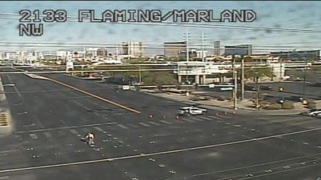Metro at the scene of a fatal auto-pedestrian crash on Flamingo Road on June 24, 2017. (LVACS)