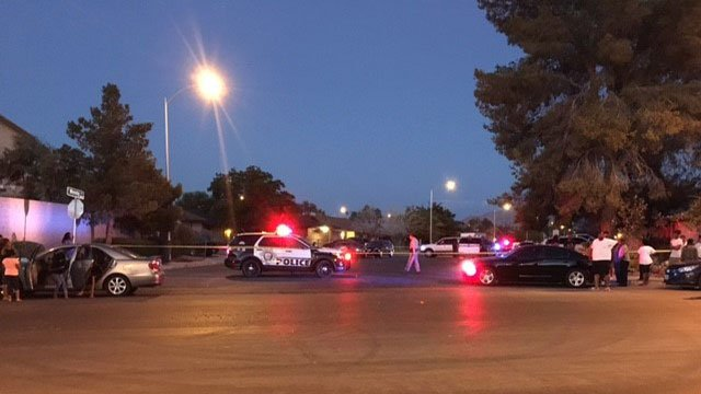 Las Vegas Metro police investigate a shooting that left two people dead Sunday night  (Austin Turner/FOX5).