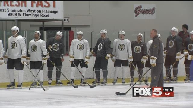 The Golden Knights hit the ice in team gear for the first time at developmental camp Tuesday. (FOX5)