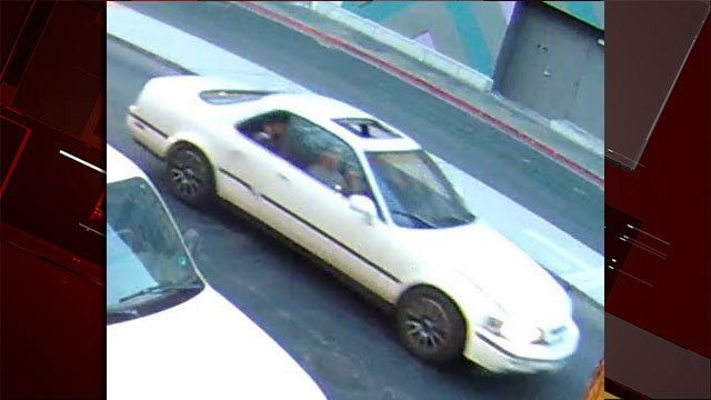 Police are looking for a white two-door sedan involved in a shooting on June 25, 2017. (Source: LVMPD)