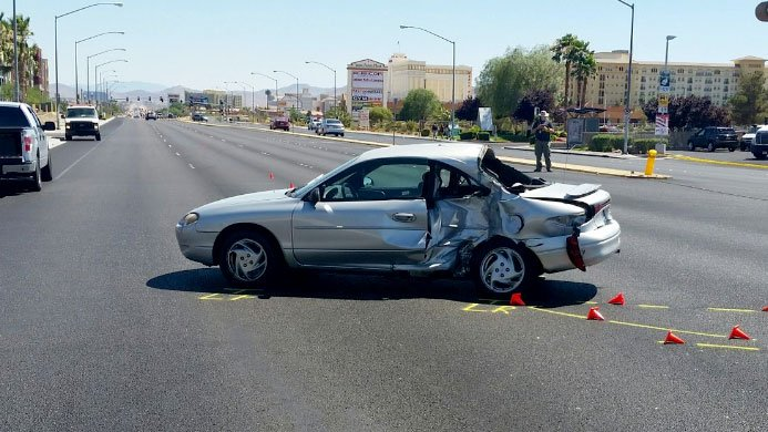 Las Vegas Metro police said they are investigating a critical crash involving a motorcyclist on June 28, 2017. (Source: LVMPD)