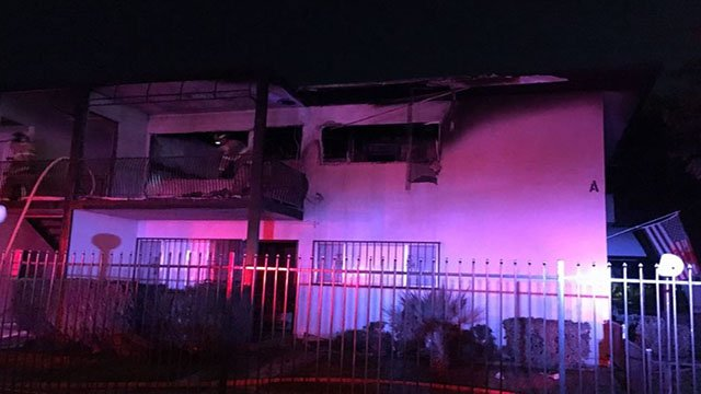Central Las Vegas apartment damaged in overnight fire. (Courtesy: CCFD)
