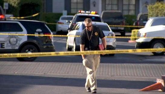 An officer walks through the scene of a deadly shooting on June 29, 2017. (Gai Phanalasy/FOX5)
