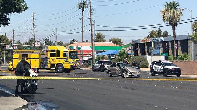 CCFD crews battle a fire caused by a car crashing into a power box (Jennifer Hurtado/FOX5).