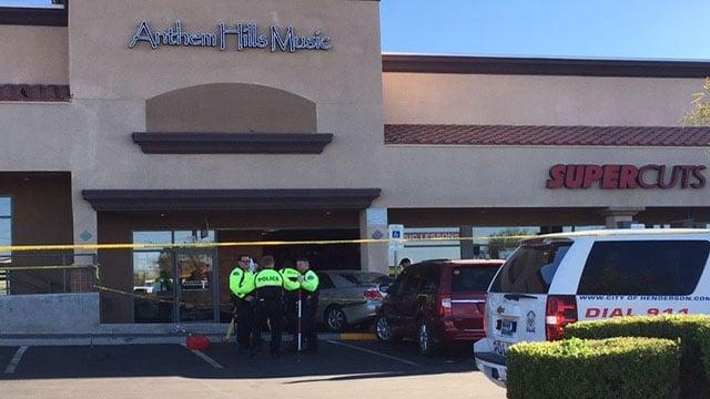 Henderson police investigate a crash where a driver drove into a music store in Henderson (Austin Turner/FOX5).