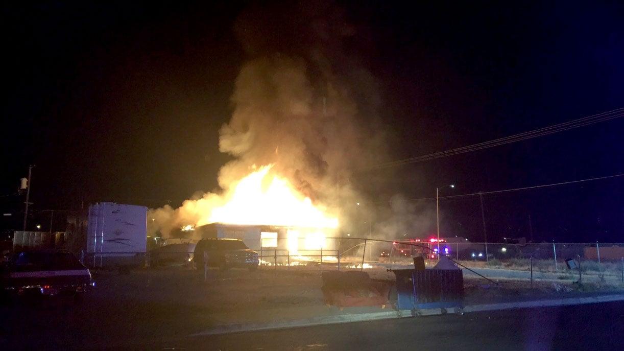 Flames engulf a home on Jefferson Avenue on July 4, 2017. (LasVegasFD/Twitter)