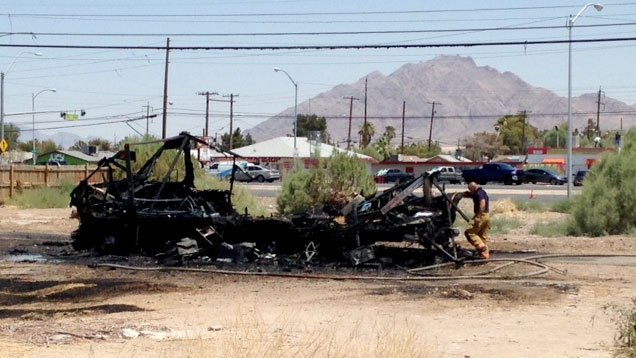 The charred remains of an RV are shown after a fire on July 6, 2017. (Armando Navarro/FOX5)