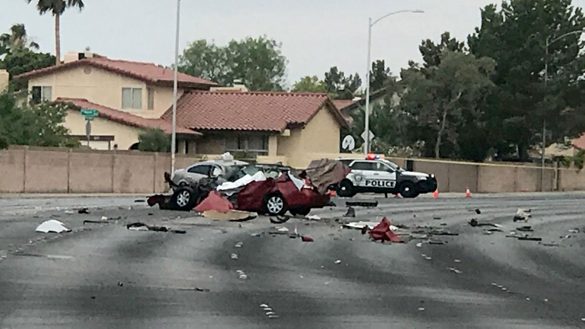 A woman was killed in a crash on Fort Apache Road near Charleston Boulevard on July 11, 2017. (Gai Phanalasy/FOX5)