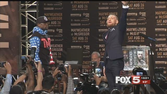 Mayweather and McGregor squared off in a war of words to promote their Aug. 26, 2017 fight.