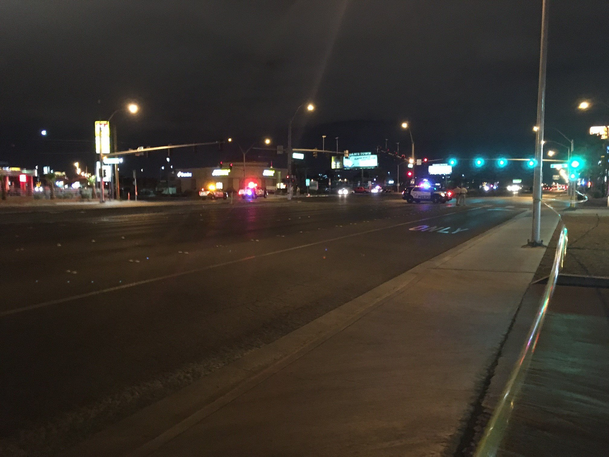 Police shutdown the intersection of Boulder Highway and Desert Inn after a critical crash involving a pedestrian on March 31, 2017 (FOX5).