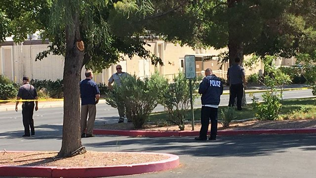 Police investigate shooting at the UNLV campus on July 13, 2017. (Jason Westerhaus/FOX5)