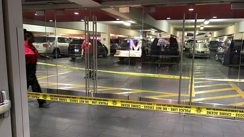 Police tape blocks off a portion of the parking garage at Planet Hollywood on July 13, 2017. (NevadaCheng/Twitter)