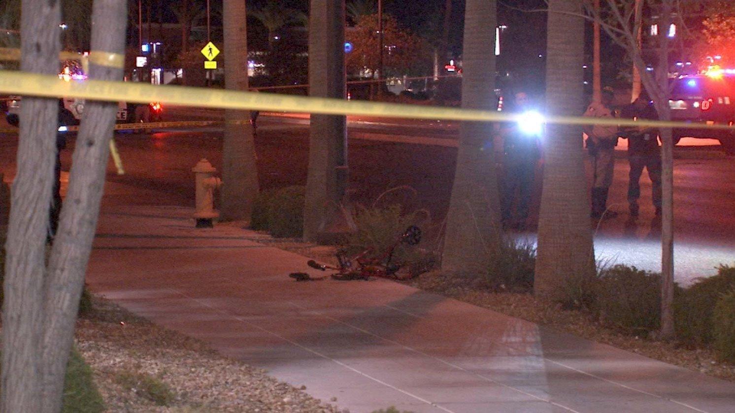 Las Vegas Metro police investigate a deadly crash involving a pedestrian on July 14, 2017. (Luis Marquez/FOX5)