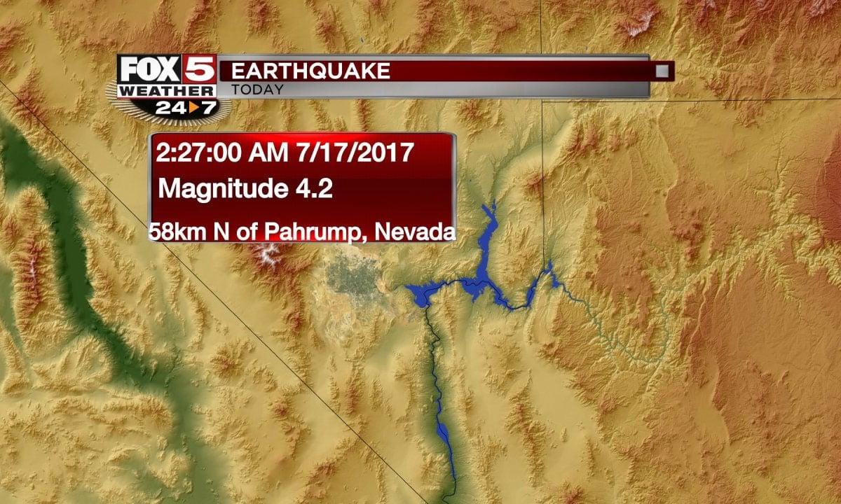 A 4.2 magnitude earthquake struck near Pahrump on July 17, 2017. (FOX5)