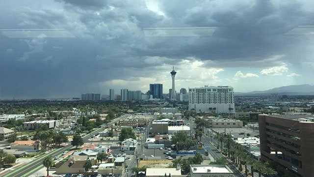 Clouds filled the valley sky in this view of the Las Vegas Strip. (Courtesy: Bryce Nicole)