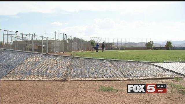 The 48 mile per hour winds blew over car ports, fences and trees, they also caused a mess on the Sierra Vista High School baseball field. (FOX5)