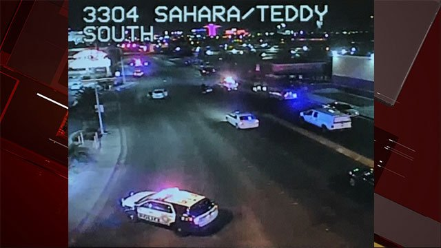 Police investigated a shooting that ended in a crash near Sahara and Teddy. (Source: LVACS)