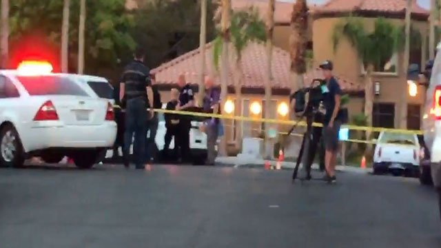 North Las Vegas police investigate a shooting July 19, 2017 (FOX5).