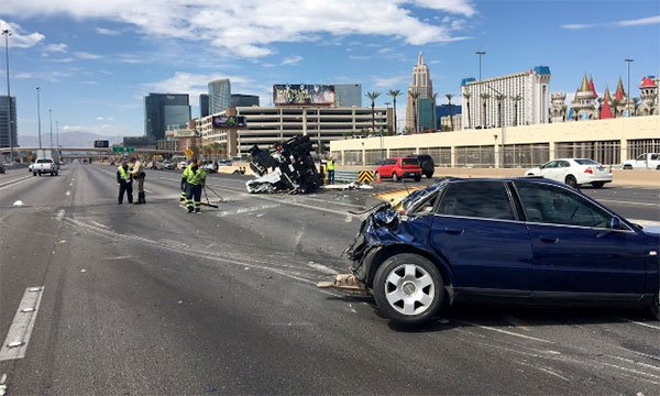 A six-vehicle crash on Interstate 15 caused delays on July 20, 2017. (NHPSouthernComm/Twitter)