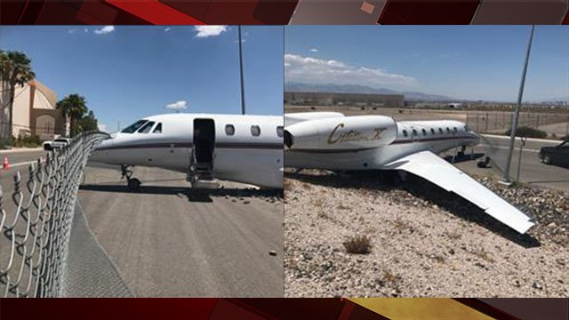 A plane was damaged after a maintenance worker failed to hit the breaks in Henderson.
