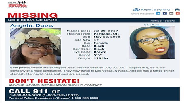 Missing Portland teen was last seen July 20, 2017 (MCMEC).