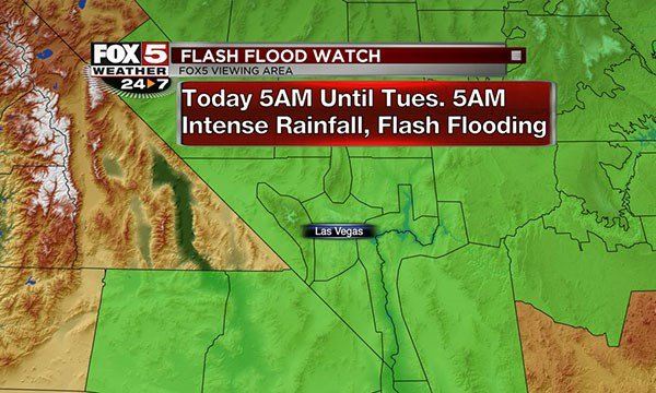 A flash flood watch was issued in Clark County on July 24, 2017. (Cassandra Jones/FOX5)
