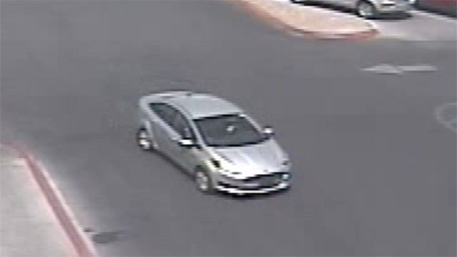Police said the suspects fled in this 4-door light colored sedan (LVMPD).