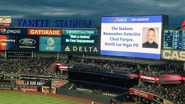 Fallen detective Chad Parque was honored by the New York Yankees on July 25, 2017. (Source: NLV Police Officers Association)
