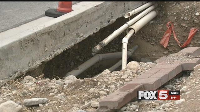 Heavy flooding damaged streets in Las Vegas on July 25, 2017. (FOX5)