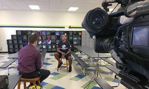 FOX5 Sports Reporter Vince Sapienza interviews Houston Rockets' Chris Paul on July 26, 2017. (FOX5)