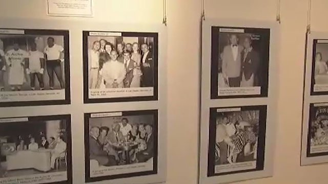 """Images on display the Clark County Library during the """"Las Vegas Lineup"""" exhibit on July 27, 2017. (Armando Navarro/FOX5)"""