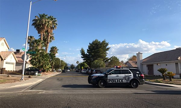 Police investigate a shooting near Sahara Avenue and Sloan Lane on July 27, 2017. (Gai Phanalasy/FOX5)
