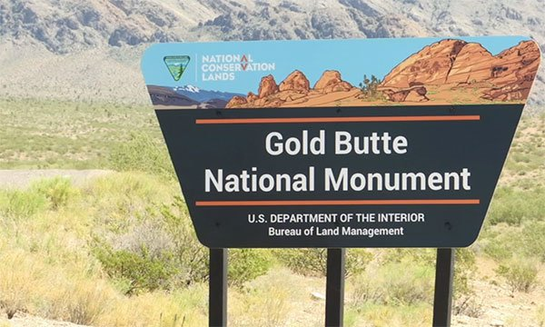 The sign at Gold Butte National Monument is shown in an undated image. (FOX5)