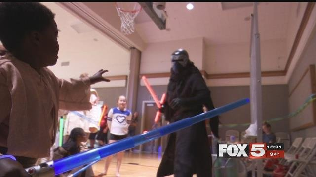 A five-year-old boy fighting cancer battled a super villain to make a wish come true.