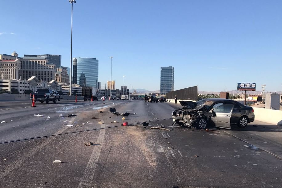 Nevada Highway Patrol at the scene of a critical hit-and-run crash on Interstate 15 on July 30, 2017. (NHP/Twitter)