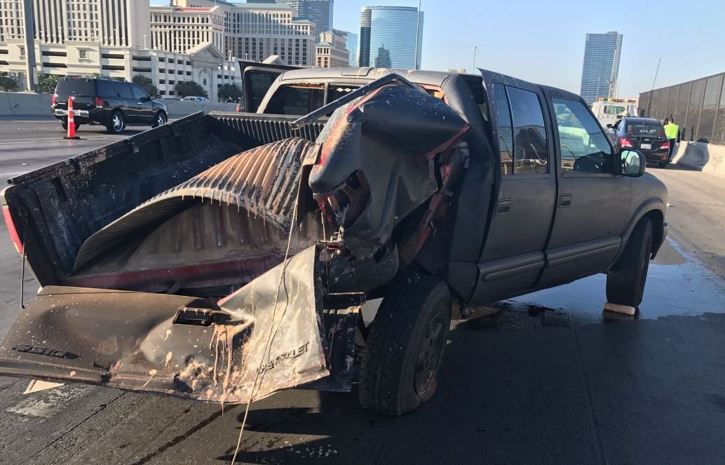 Driver of pickup truck critically injured in hit-and-run crash on Interstate 15 on July 30, 2017. (NHP/Twitter)