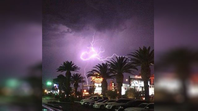 Lightning lit up the Las Vegas sky on July 29, 2017 with a late evening thunderstorm. (Courtesy: David Lee)