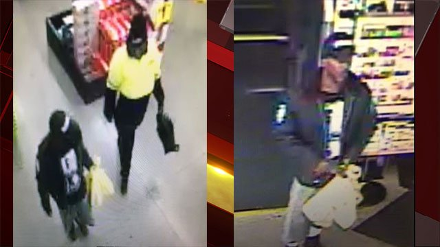 Two wanted suspects are seen entering the business (LVMPD).