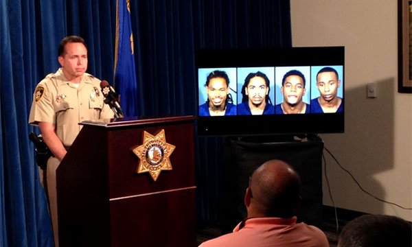 LVMPD briefs the media on an officer-involved shooting from July 29, 2017. (Roger Bryner/FOX5)