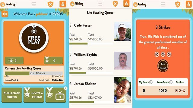 Screenshots from Givling application. (Peter Dawson/FOX5)