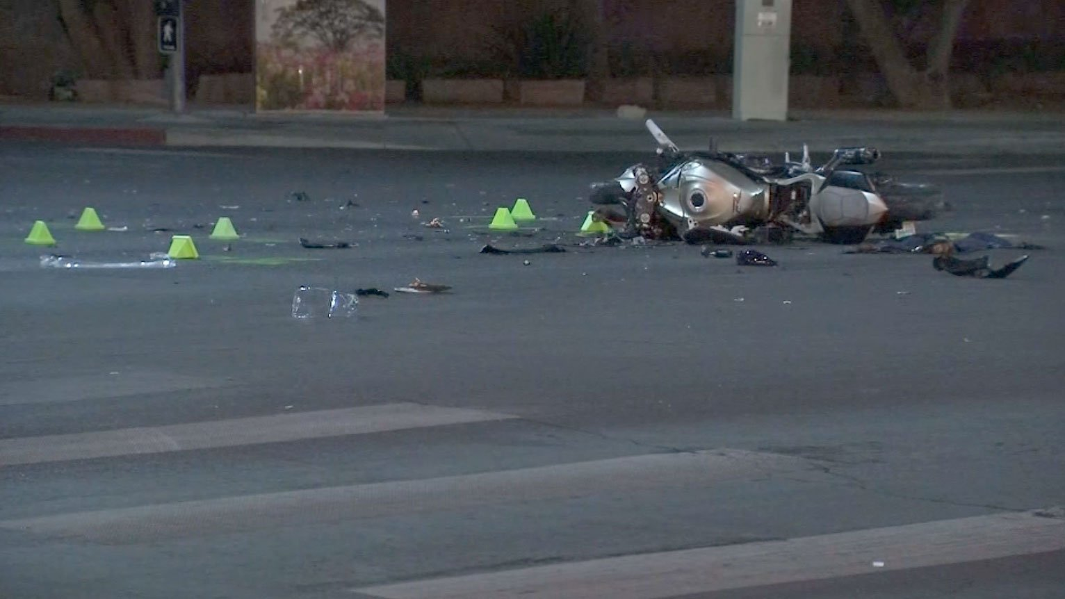 North Las Vegas police said a motorcyclist was in critical condition following a crash on Aug. 8, 2017. (Armando Navarro/FOX5)