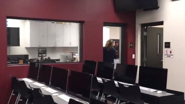 Look inside at one of the new state-of-the-art classrooms at Faith Lutheran on Aug. 10, 2017. (Mike Doria/FOX5)