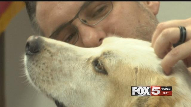 Randy Dexter, a valley Army veteran, credits his dog Captain with saving his life. (FOX5)