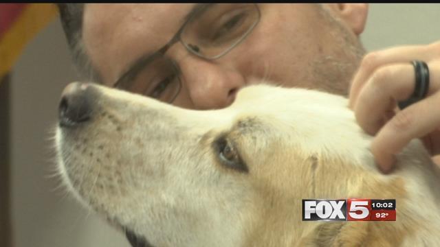 Randy Dexter, a valleyArmy veteran, credits his dog Captain with saving his life.(FOX5)