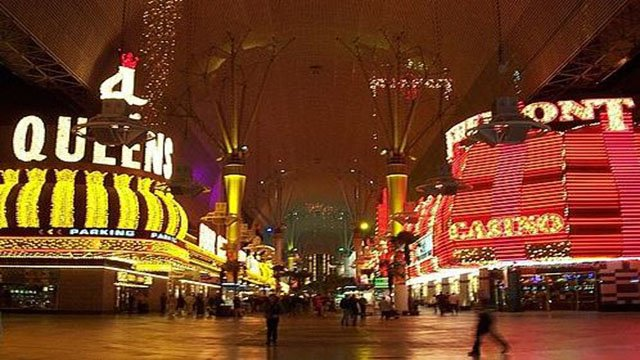 Fremont Street Experience shown at night in this undated photo. (File/FOX5)