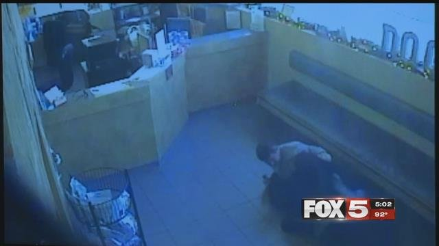 A Las Vegas Metropolitan Police Department detective who got into a fight and fired two shots at a robbery suspect inside of an animal hospital last December has been fired from the department.
