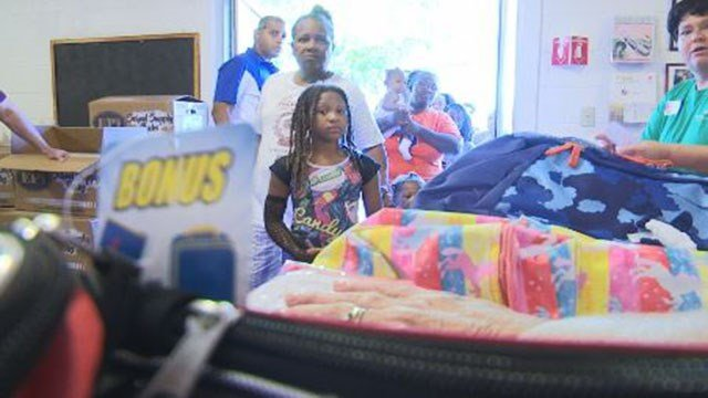 Back-to-school items distributed at The Salvation Army in Las Vegas on Aug. 12, 2017. (Cyndi Lundeberg/FOX5)